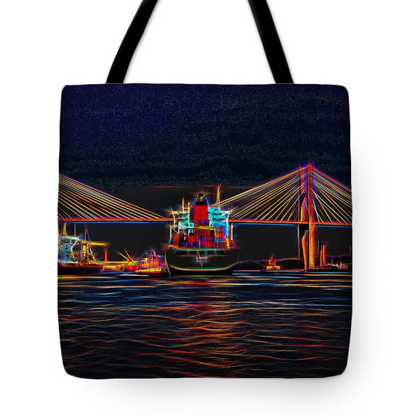 Container Ship Arriving At Savannah Tote Bag