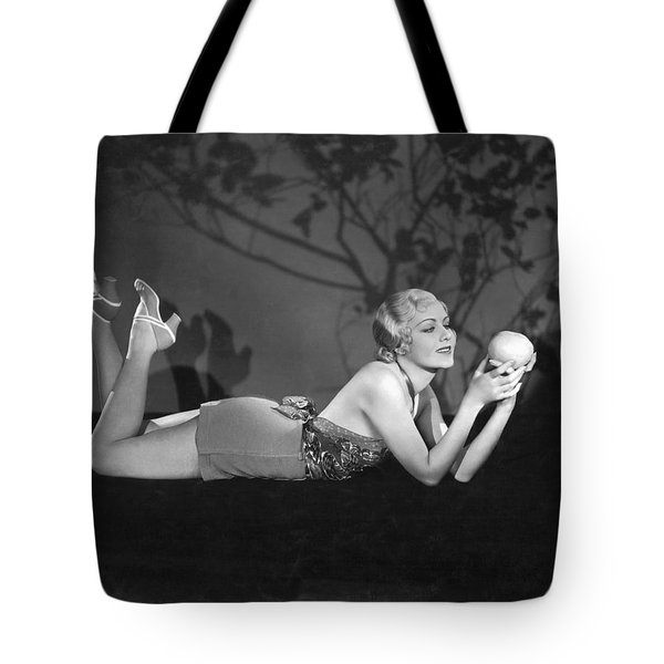 Contemplating A Grapefruit Tote Bag by Elmer Fryer