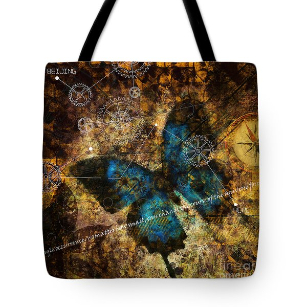 Tote Bag featuring the digital art Contemplating The Butterfly Effect  by Nola Lee Kelsey