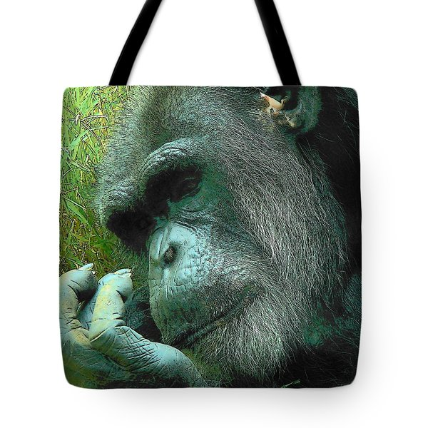Tote Bag featuring the photograph Contemplative Chimp by Rodney Lee Williams