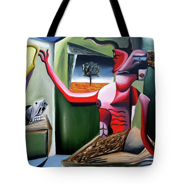Tote Bag featuring the painting Contemplifluxuation by Ryan Demaree
