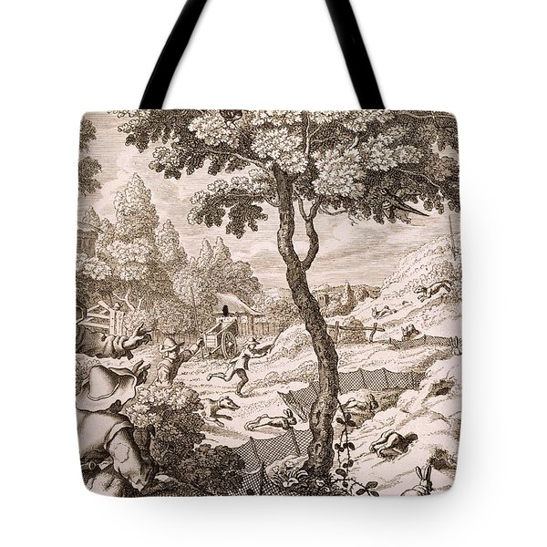 Cony Catching, Engraved By Wenceslaus Tote Bag