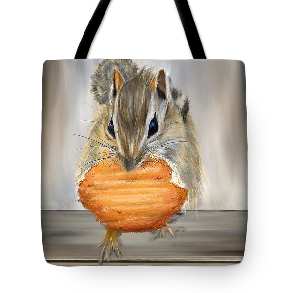 Cookie Time- Squirrel Eating A Cookie Tote Bag by Lourry Legarde