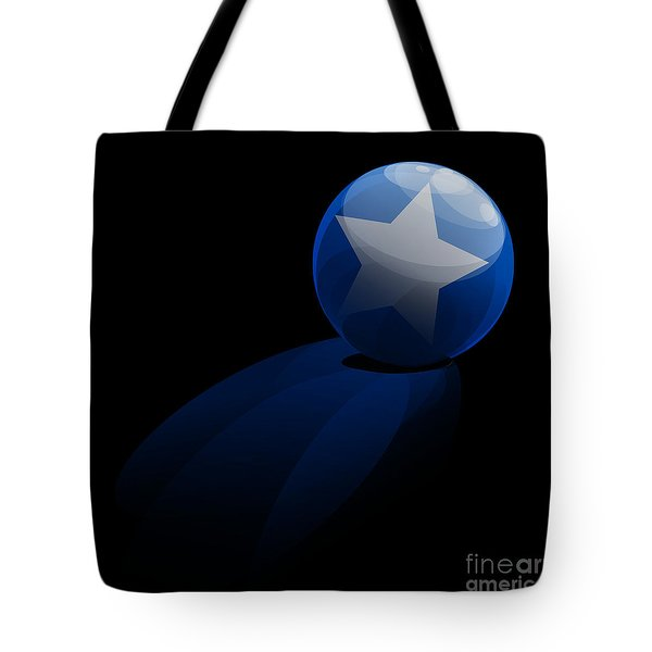 Tote Bag featuring the digital art Blue Ball Decorated With Star Grass Black Background by R Muirhead Art