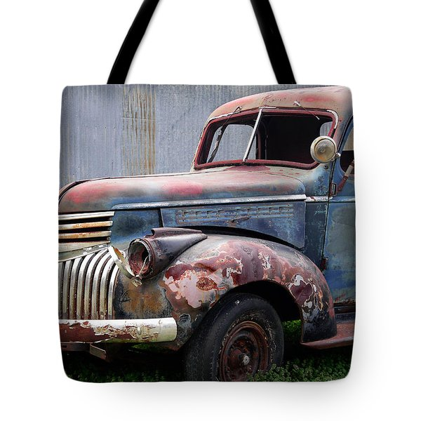 Tote Bag featuring the photograph Cool Blue Chevy by Steven Bateson