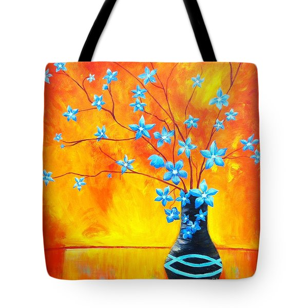 Cool Blue On Fire Tote Bag