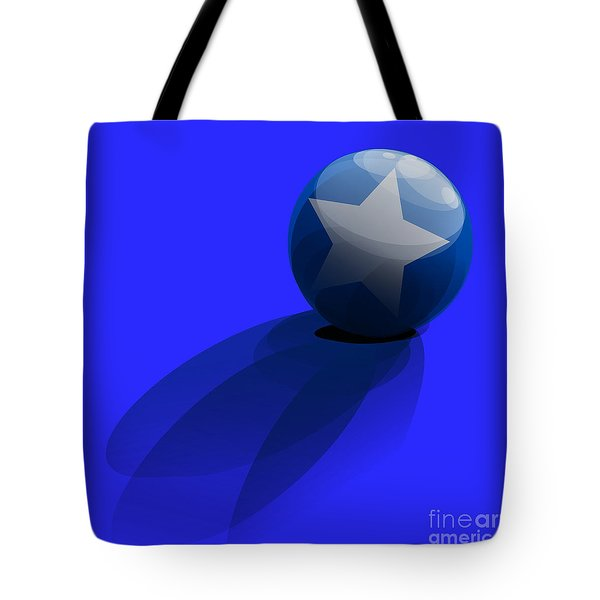Tote Bag featuring the digital art Blue Ball Decorated With Star Grass Blue Background by R Muirhead Art