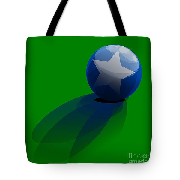 Tote Bag featuring the digital art Blue Ball Decorated With Star Grass Green Background by R Muirhead Art