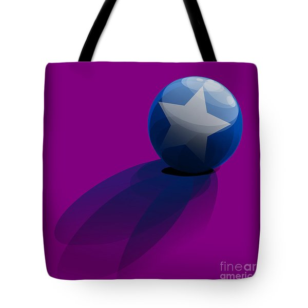 Tote Bag featuring the digital art Blue Ball Decorated With Star Purple Background by R Muirhead Art