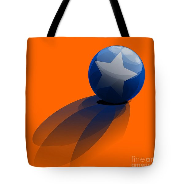 Tote Bag featuring the digital art Blue Ball Decorated With Star Orange Background by R Muirhead Art