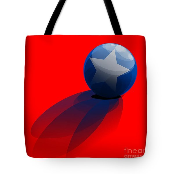 Tote Bag featuring the digital art Blue Ball Decorated With Star Red Background by R Muirhead Art