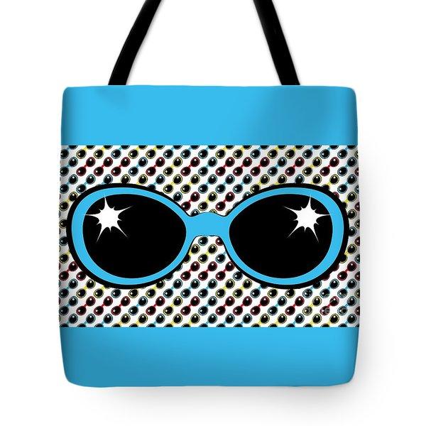 Cool Retro Blue Sunglasses Tote Bag