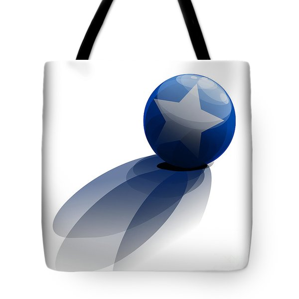 Tote Bag featuring the digital art Blue Ball Decorated With Star Grass White Background by R Muirhead Art