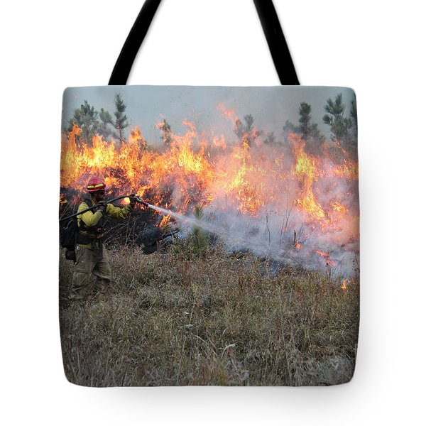 Cooling Down The Norbeck Prescribed Fire. Tote Bag