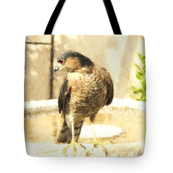 Cooper's Hawk At The Birdbath Tote Bag