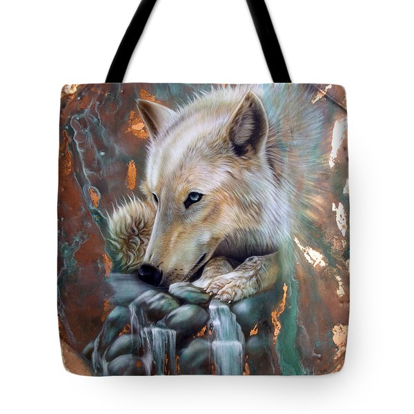 Copper Arctic Wolf Tote Bag