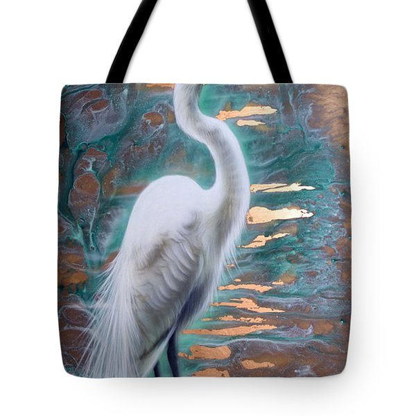 Copper Egret Tote Bag
