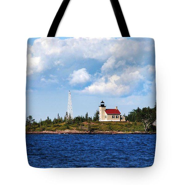 Copper Harbor Lighthouse Tote Bag by Christina Rollo