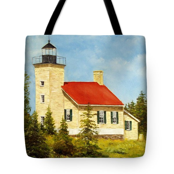 Tote Bag featuring the painting Copper Harbor Lighthouse by Lee Piper