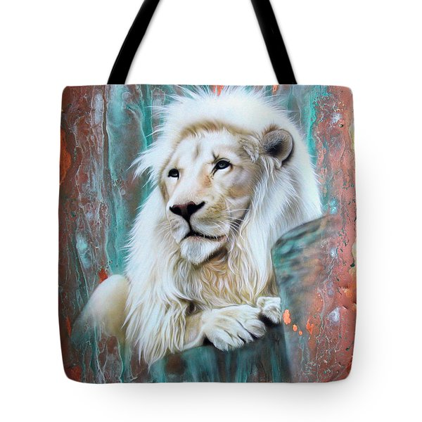 Copper White Lion Tote Bag