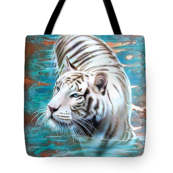Copper White Tiger Tote Bag