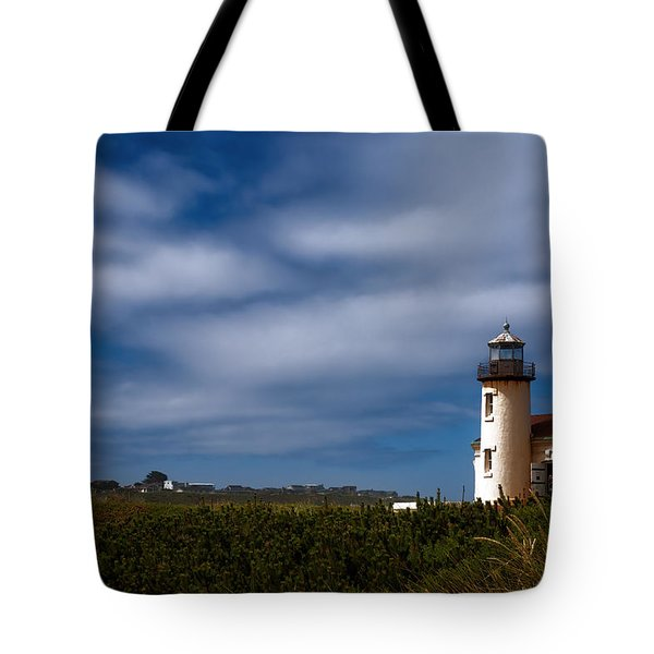 Coquille River Lighthouse Tote Bag by Joan Carroll