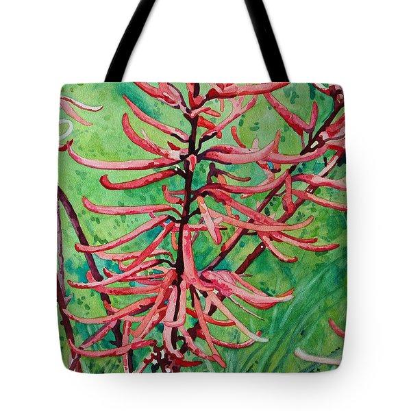 Coral Bean Flowers Tote Bag
