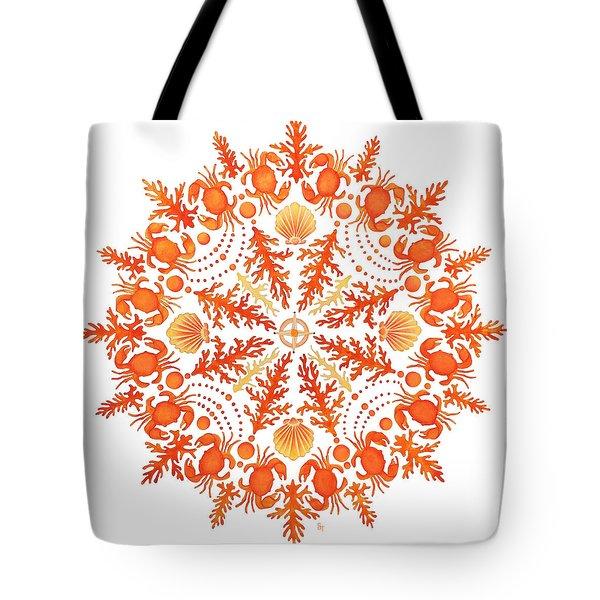 Coral Crab Mandala Tote Bag