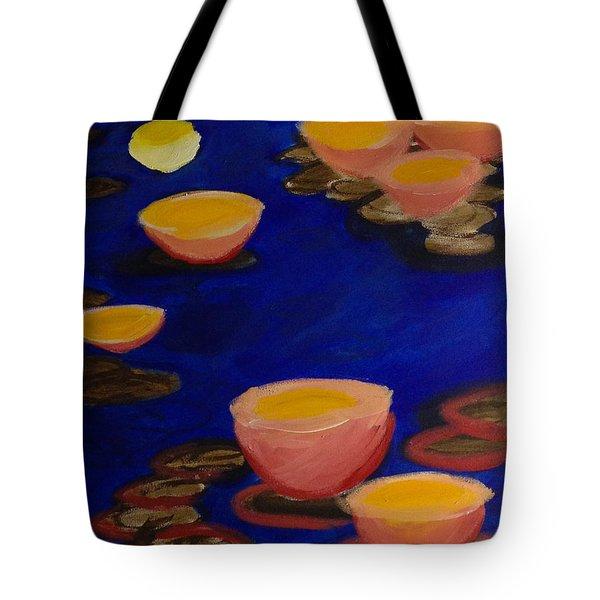 Coral Lily Pond Tote Bag by Anita Lewis