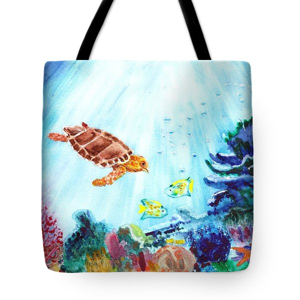 Tote Bag featuring the painting Coral Reef by Donna Walsh