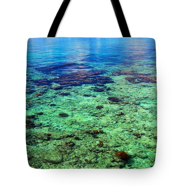 Coral Reef Near The Island At Peaceful Day. Maldives Tote Bag by Jenny Rainbow
