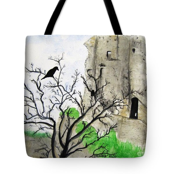 Corfe Castle And Crow Tote Bag