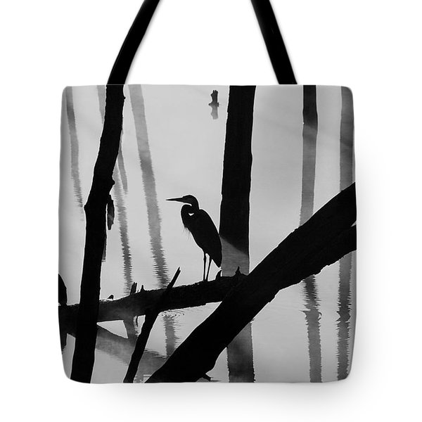 Cormorant And The Heron  Bw Tote Bag