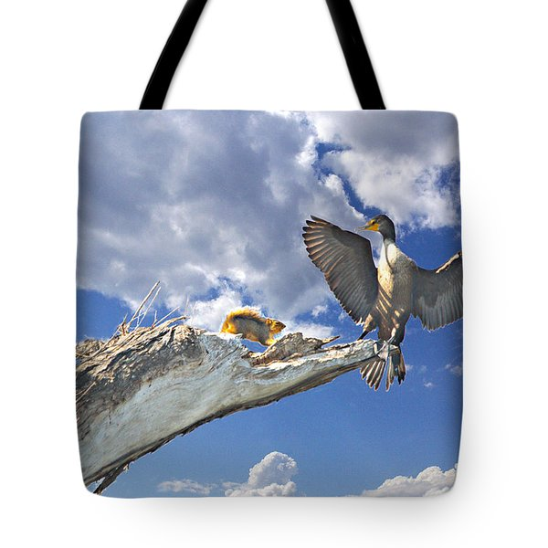 Cormorant Close Encounter With Tree Squirrel 1 Tote Bag by Roy Williams