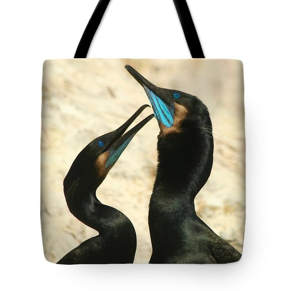 Tote Bag featuring the photograph Cormorant Love by Bob and Jan Shriner