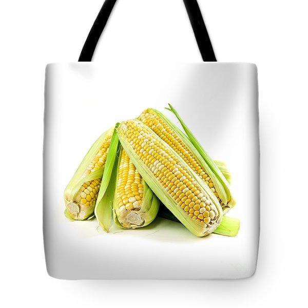 Corn Ears On White Background Tote Bag