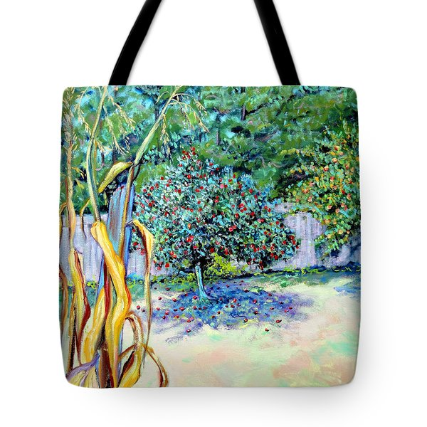 Corn Stalk And Apple Tree  Autumn Lovers Tote Bag by Asha Carolyn Young