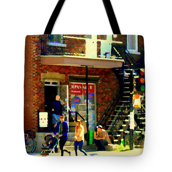 Corner Laurier Marche Maboule Depanneur Summer Stroll With Baby Carriage Montreal Street Scene Tote Bag by Carole Spandau