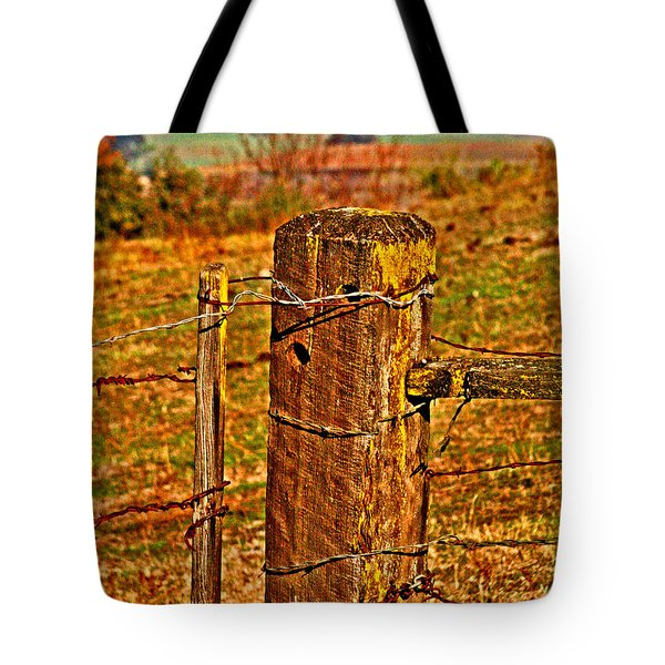 Corner Post At Gate Tote Bag