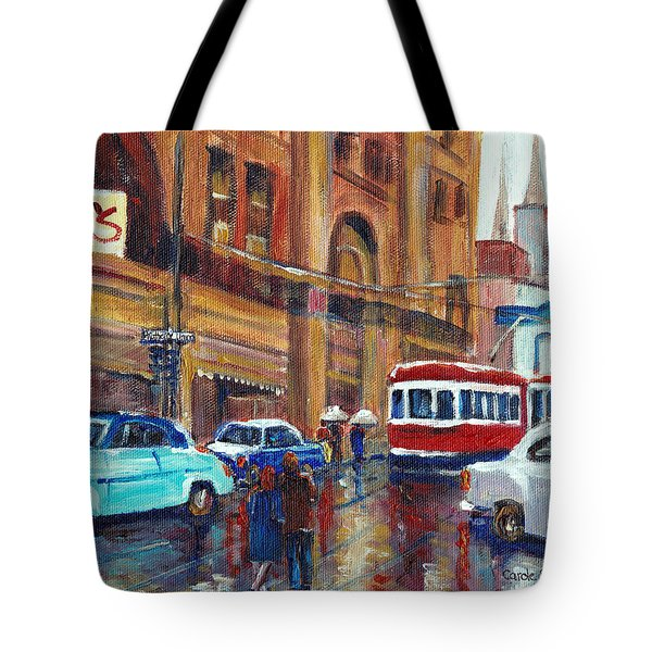 Corner St.catherine And Union Streets-fifties Montreal-vintage Street Scene Tote Bag by Carole Spandau