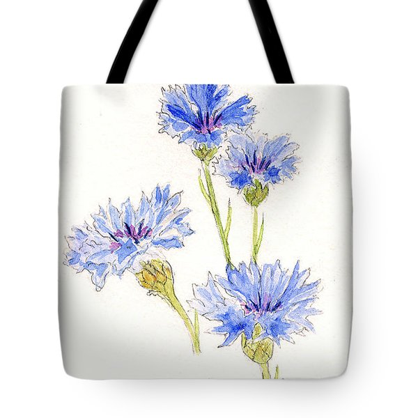 Tote Bag featuring the painting Cornflowers by Stephanie Grant