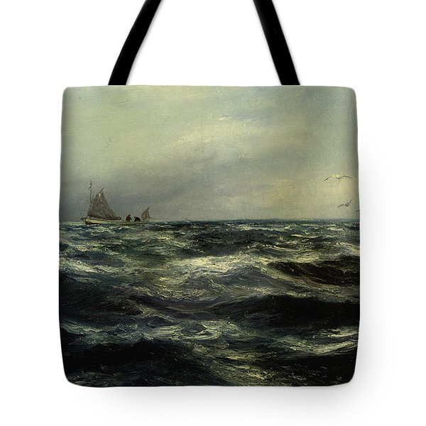 Cornish Sea And Working Boat Tote Bag by Charles William Hemy