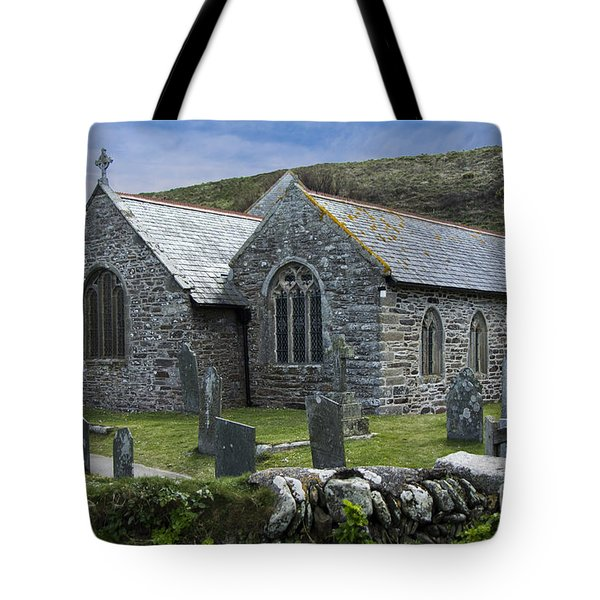 Cornish Seascape St Winwaloe Church Tote Bag by Brian Roscorla