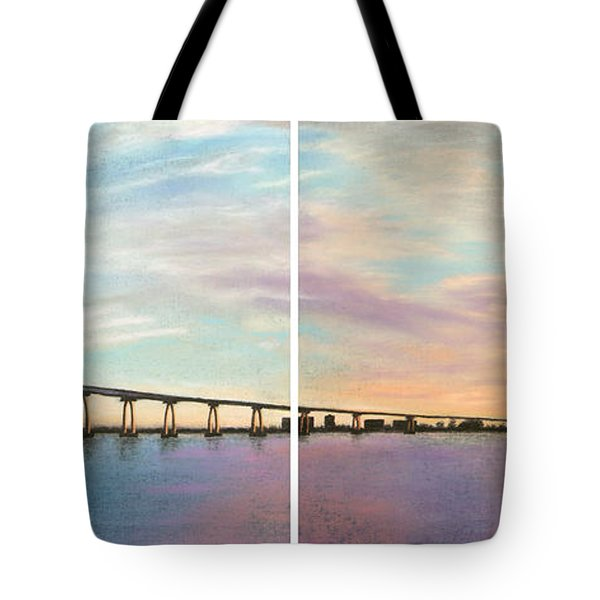 Coronado Bridge Sunset Diptych Tote Bag