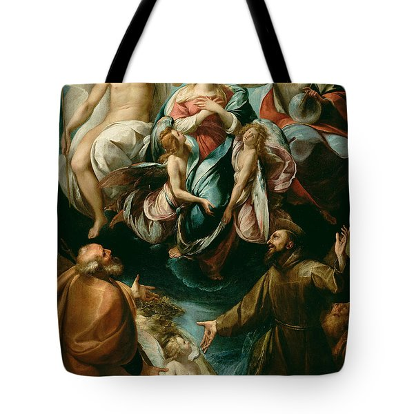 Coronation Of The Virgin With Saints Joseph And Francis Of Assisi Tote Bag