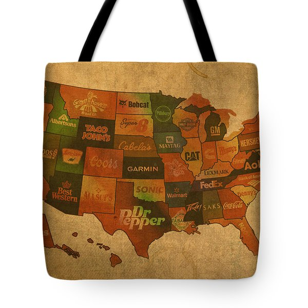 Corporate America Map Tote Bag by Design Turnpike