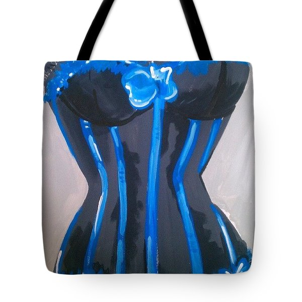 Corset Blue Lace Tote Bag by Marisela Mungia