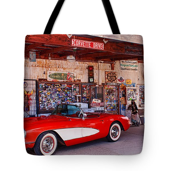 Corvette Drive Rt 66 Tote Bag