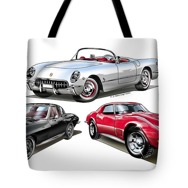 Tote Bag featuring the digital art Corvette Generation by Thomas J Herring