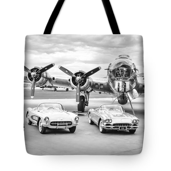 Corvettes And B17 Bomber -0027bw2 Tote Bag